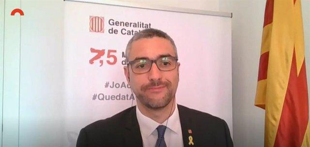 El conseller d'Acció Exterior de la Generalitat, Bernat Solé, en la seva compareixença telemàtica en la comissió d'Acció Exterior del Parlament.