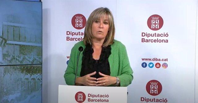 La presidenta de la Diputació de Barcelona, Núria Marín, en roda de premsa telemàtica per presentar el nou pla de reactivació socioeconòmica dels municipis.