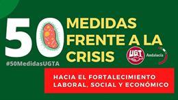 Imagen del documento elaborado por UGT-Andalucía con 50 medidas frente a la crisis ocasionada por el coronavirus.