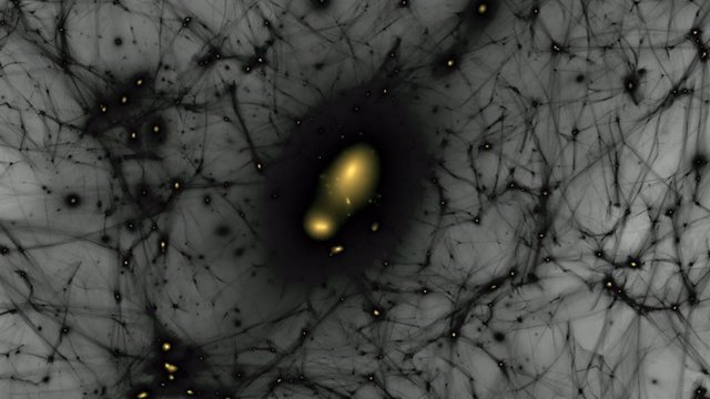 Simulación de la formación de estructuras de materia oscura