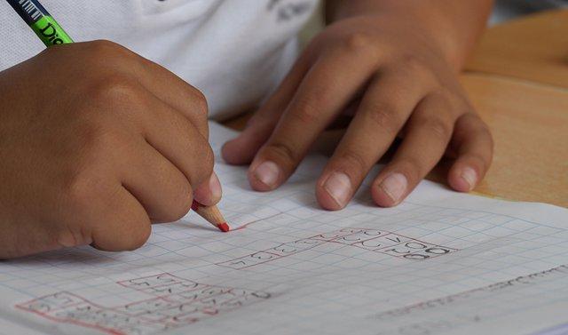 Un alumno hace sus tareas