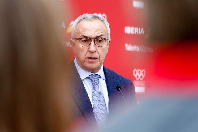El presidente del COE, Alejandro Blanco, en la presentación del Airbus A350 'Comité Olímpico Español' de Iberia