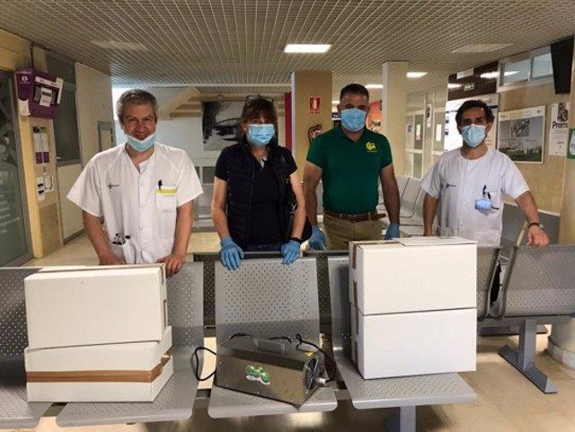 Imagen del material donado al hospital Río Carrión de Palencia.
