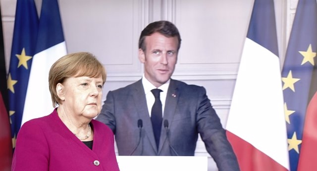18 May 2020, Berlin: German Chancellor Angela Merkel arrives for a press conference with French President Emmanuel Macron (video-connected). Photo: Kay Nietfeld/dpa-Pool/dpa