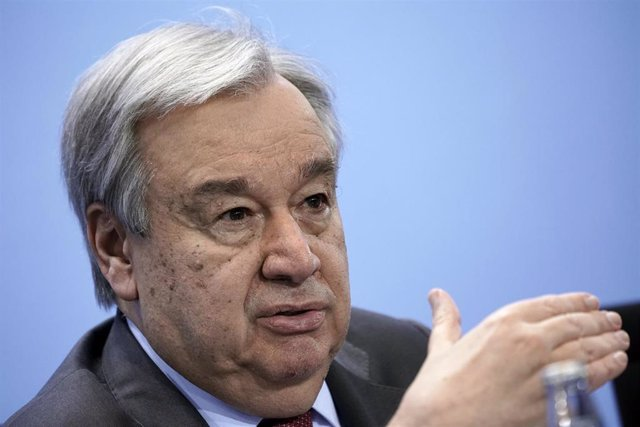 "FILED - 19 January 2020, Berlin: Antonio Guterres, Secretary-General of the United Nations, speaks at a press conference after the Libya conference. Guterres issued a warning that lesbian, gay, bisexual, trans and intersex people are facing ""increased vul"