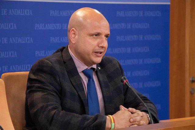 El secretario del grupo parlamentario de Vox y portavoz adjunto, Rodrigo Alonso, en rueda de prensa.