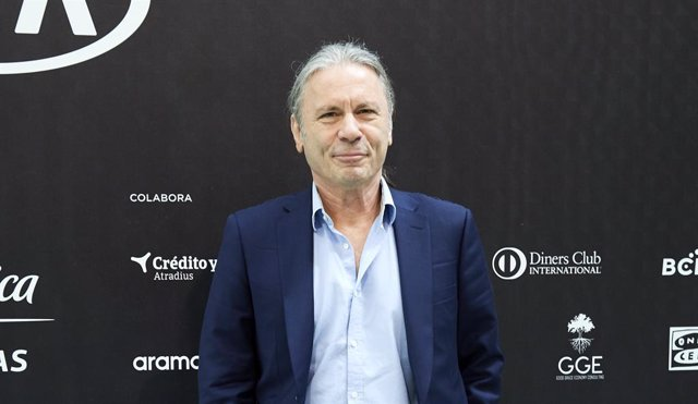 MADRID, SPAIN - JUNE 06: Bruce Dickinson of Iron Maiden poses in a photocall before attending  MABS 2019, Management & Business Summit, at Ifema on June 06, 2019 in Madrid, Spain
