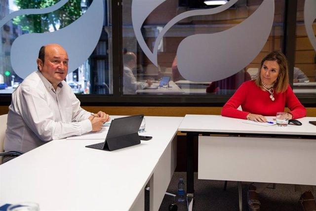 El presidente del EBB del PNV, Andoni Ortuzar, en la reunión de la Ejecutiva jeltzale