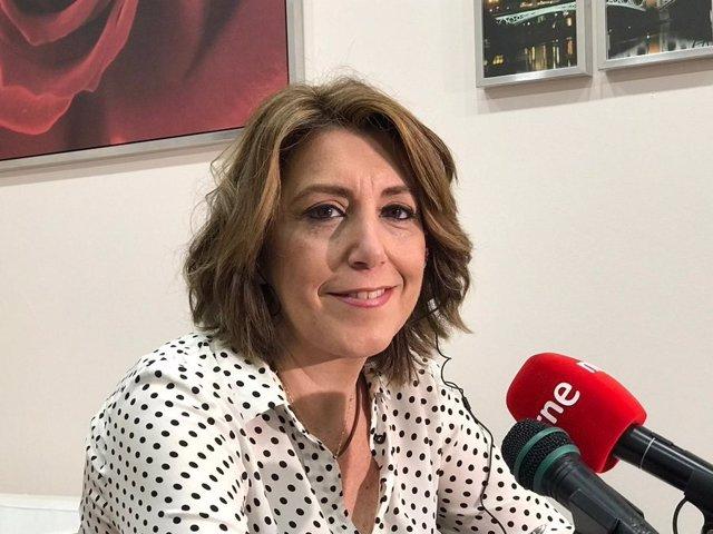 La secretaria general del PSOE-A, Susana Díaz, en una entrevista en RNE.