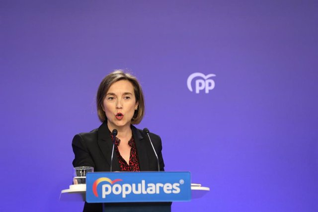 La vicesecretaria de Política Social del Partido Popular, Cuca Gamarra, durante una rueda de prensa tras la reunión del Comité de Dirección del partido, en Madrid (España) a 2 de marzo de 2020.