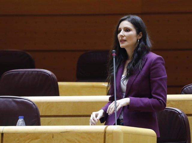 La portaveu de Ciutadans en el Senat Lorena Roldán intervé en la sessió de control al Govern en el Senat, a Madrid (Espanya) a 5 de maig de 2020.