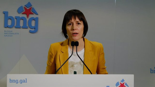 Ana Pontón, portavoz nacional del BNG, en rueda de prensa este lunes