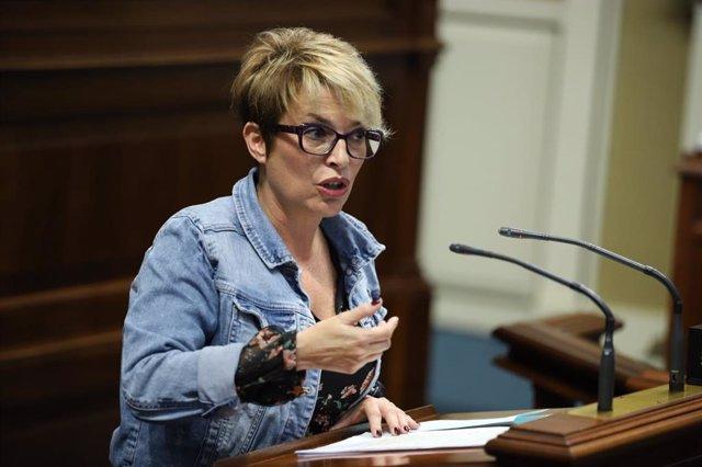 La consejera de Economía y Empleo del Gobierno de Canarias, Elena Máñez, en el Pleno del Parlamento
