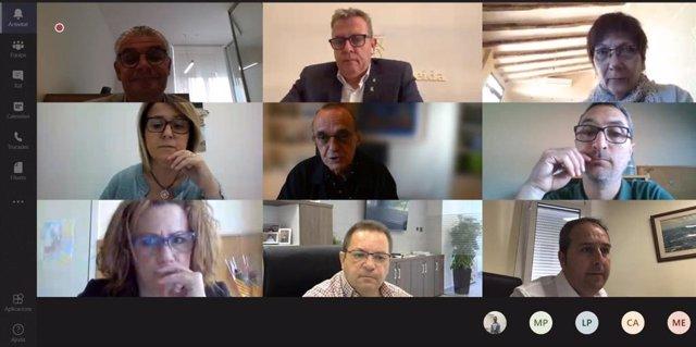 Reunión telemática del presidente de la Diputación de Lleida, Joan Talarn, con el alcalde de Lleida, Miquel Pueyo y otros alcaldes y alcaldesas de la provincia