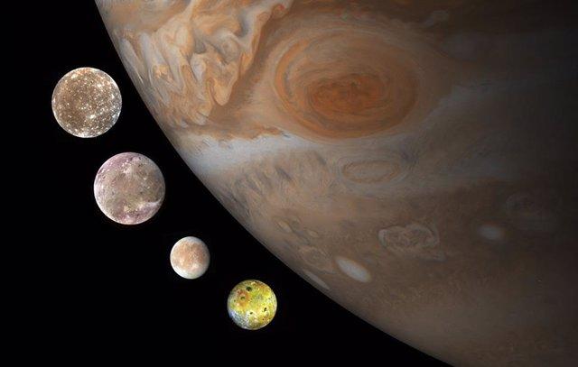 Las cuatro grandes lunas de Júpiter