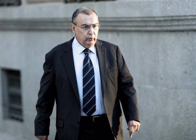 El exjefe de la Unidad Central de Apoyo Operativo (UCAO) de la Policía Nacional Enrique García Castaño, antes de una de sus declaraciones en la Audiencia Nacional