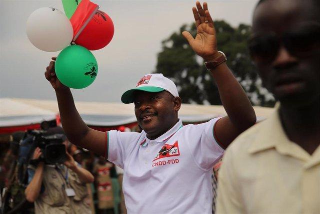 El presidente de Burundi, Pierre Nkurunziza, durante un acto de campaña en las elecciones de 2015