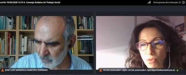 La consejera de Igualdad, Rocío Ruiz, duranta la videoconferencia que ha mantenido con el Colegio Andaluz de Profesionales de Trabajo Social.