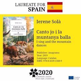 Irene Solà guanya el premi EUPL 2020 amb la novel·la 'Canto jo i la muntanya balla'