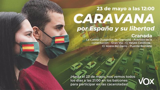 Cartel de la manifestación convocada por Vox para el sábado 23 de mayo contra el Gobierno