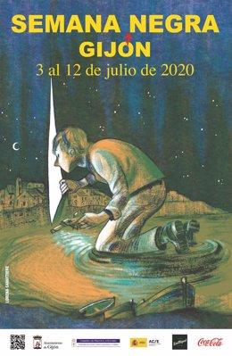 Cartel anunciador de la XXXIII edición de la Semana Negra de Gijón