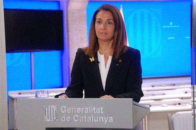 La portavoz del Govern, Mertixell Budó, en rueda de prensa el 19 de mayo de 2020.