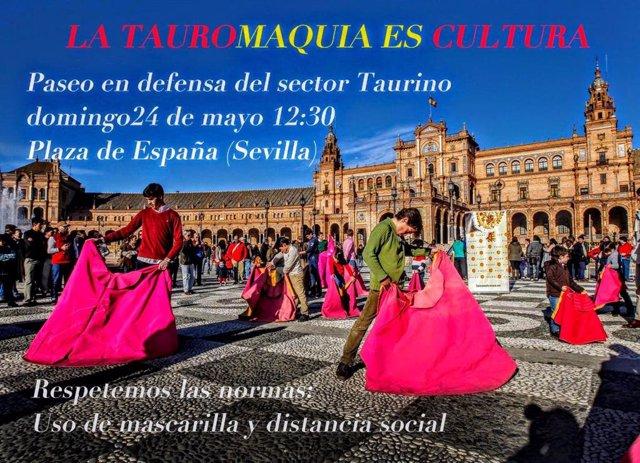 Convocatoria en redes sociales para un 'Paseo reivindicativo' en Sevilla en defensa de la tauromaquia.