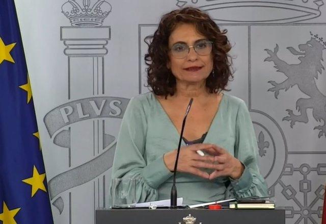 La ministra de Hacienda y portavoz del Gobierno, María Jesús Montero, durante la rueda de prensa posterior a la reunión del Consejo de Ministros celebrada el 19 de mayo.