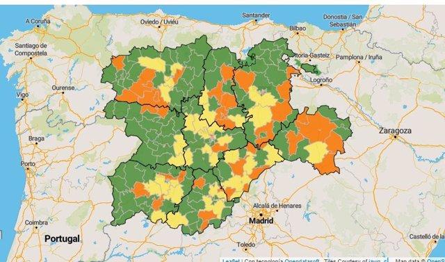 Captura del mapa de las Zonas Básicas de Salud de Castilla y León.