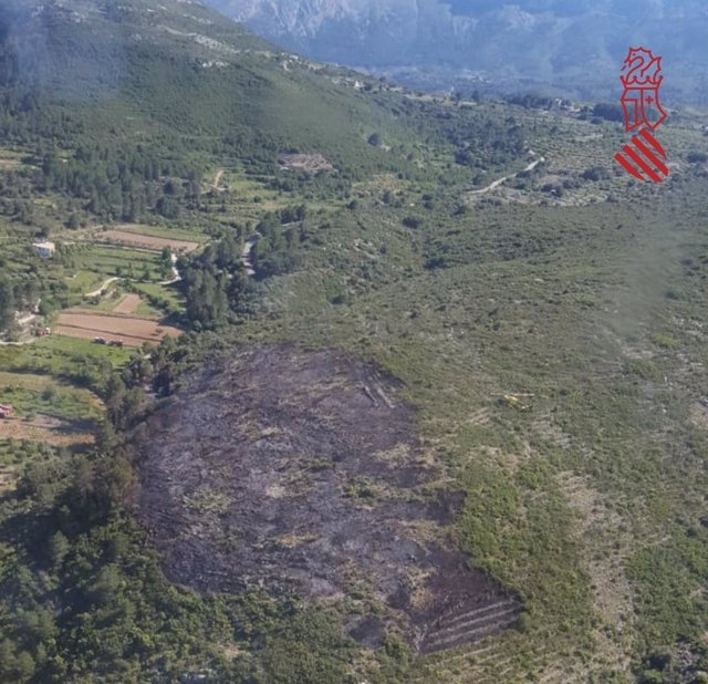Zona afectada por las llamas en Llíber.