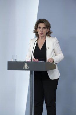 La vicepresidenta para la Transición Ecológica y el Reto Demográfico, Teresa Ribera, durante la rueda de prensa posterior al Consejo de Ministros celebrado en Moncloa el día 66 del estado de alarma. En Madrid (España), a 19 de mayo de 2020.