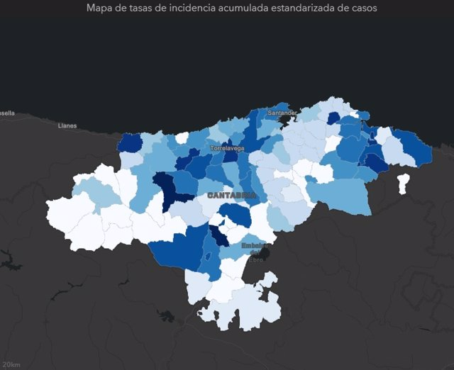 Tasa de incidencia acumulada de COVID-19 en los municipios de Cantabria