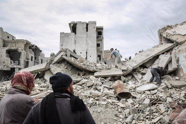 Bombardeo en Idlib (Siria)
