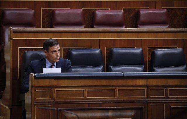 El presidente del Gobierno, Pedro Sánchez, durante el pleno del Congreso que debate y vota este miércoles la quinta prórroga del estado de alarma, en Madrid (España), a 20 de mayo de 2020.