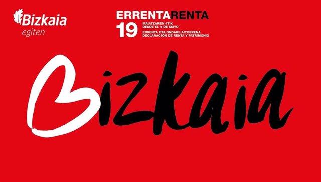 Cartel de la campaña de la Renta 2019 en Bizkaia
