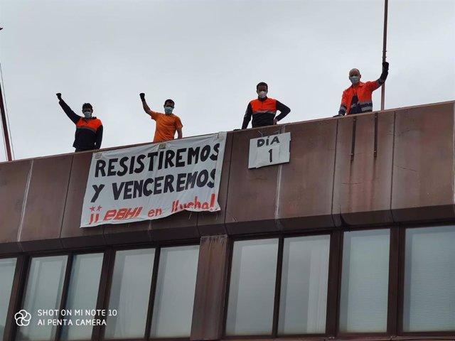 """Cuatro trabajadores de la EBHI inician una huelga de hambre en protesta por el ERTE que quiere """"imponer"""" la empresa"""