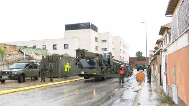 Ejército Tierra colabora en instalación de espacios para contagiados Covid-19 en residencia de mayores en Requena