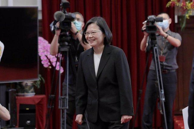 Tsai Ing Wen en la toma de posesión para su segundo mandato presidencial, en Taipéi