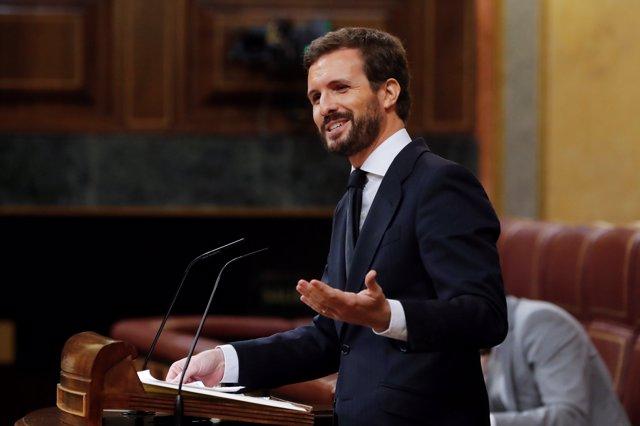 El líder del PP, Pablo Casado, interviene en el pleno del Congreso que debate y vota este miércoles la quinta prórroga del estado de alarma, en Madrid (España), a 20 de mayo de 2020.