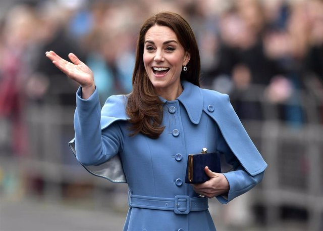 Catherine, Duchess of Cambridge engages in a walkabout in Ballymena town
