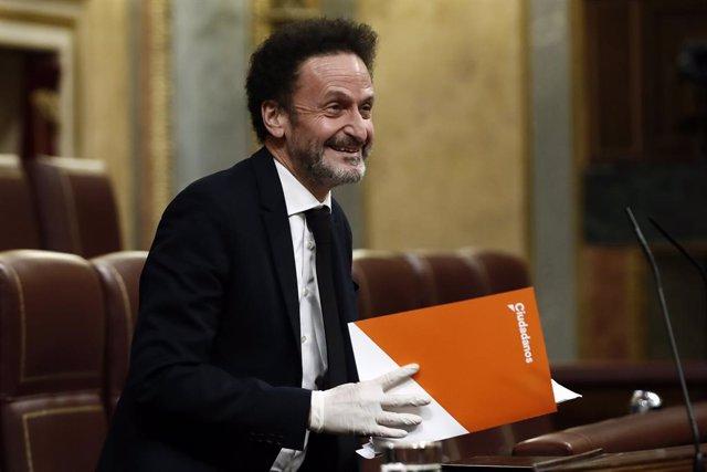 El diputado de Ciudadanos Edmundo Bal interviene este miércoles durante el pleno del Congreso de los Diputados, en Madrid (España), a 13 de mayo de 2020.