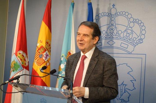 Abel Caballero, alcalde de Vigo y presidente de la FEMP, en una rueda de prensa telemática.