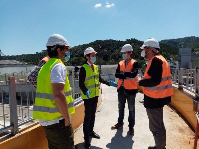 El conseller Damià Calvet visita obras en la C-35