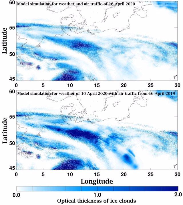 Menos estelas de condensación de aviones por el descenso de tráfico aéreo el Covid19