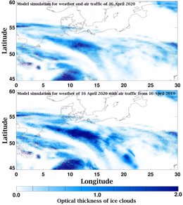 Hasta 90% menos pistas de condensación por caída de tráfico aéreo en Europa