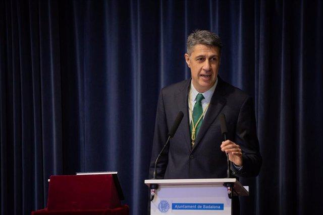 El popular, Xavier García Albiol, durante su intervención en su proclamación como nuevo alcalde de Badalona. En Badalona, Barcelona, Catalunya, (España), a 12 de mayo de 2020.