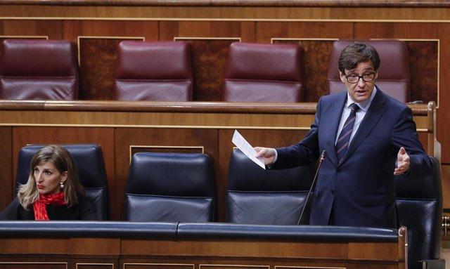 El ministro de Sanidad, Salvador Illa durante la sesión de Control al Ejecutivo que se celebra este miércoles en el Congreso. En Madrid (España), a 13 de mayo de 2020.