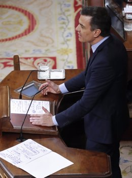 El presidente del Gobierno, Pedro Sánchez, en el Congreso.