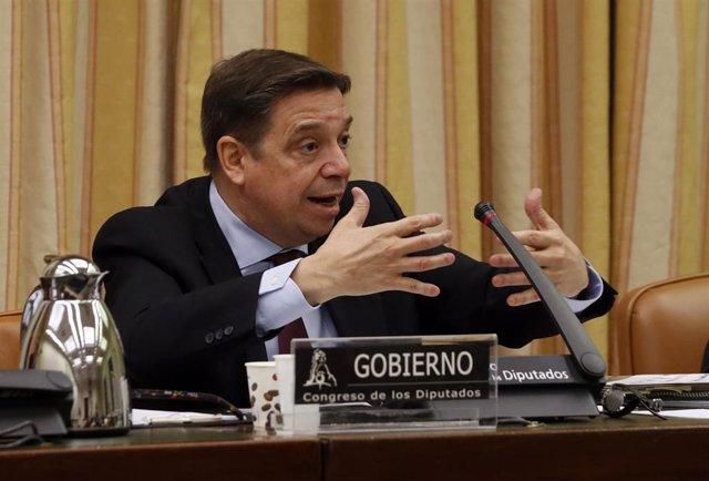El ministro de Agricultura, Pesca y Alimentación, Luis Planas, durante comparecencia este jueves ante la comisión de Agricultura, Pesca y Alimentación en el Congreso de los Diputados.