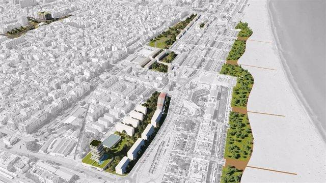 Simulación del desarrollo del PEC del Cabanyal-Canyamelar, en València.